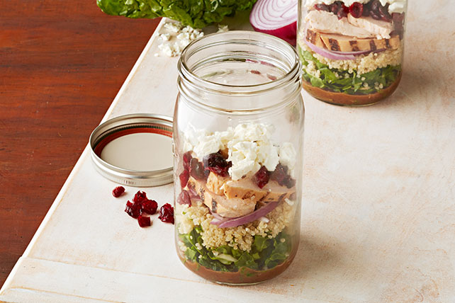 Balsamic Chicken and Quinoa Salad in a Jar
